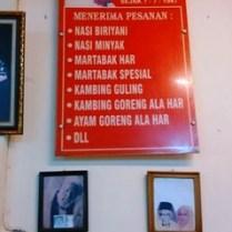 Menu di RM Martabak HAR Simpang Sekip Palembang