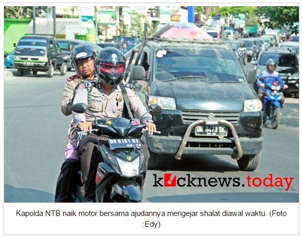 Kapolda NTB Brigjen Pol. Drs. Umar Septono, SH MH bersama ajudan naik motor matik