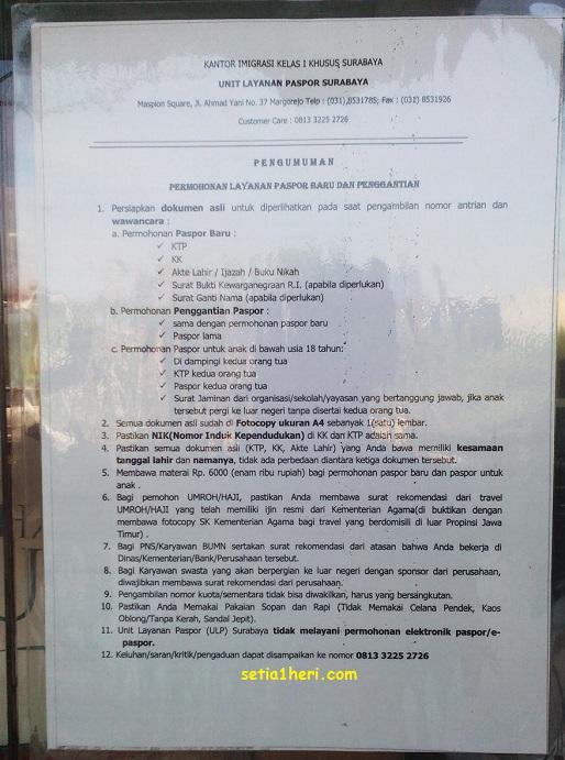 Syara-syarat pengurusan paspor di ULP Surabaya