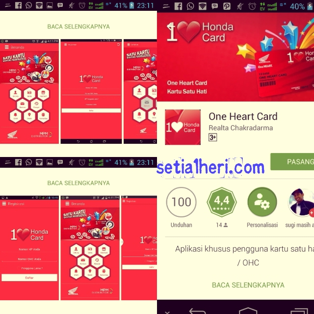 aplikasi One Heart Card di smarphone android tahun 2015
