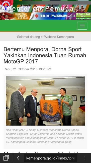 berita Kemenpora terkait balapan moto gp di Indonesia Tahun 2017