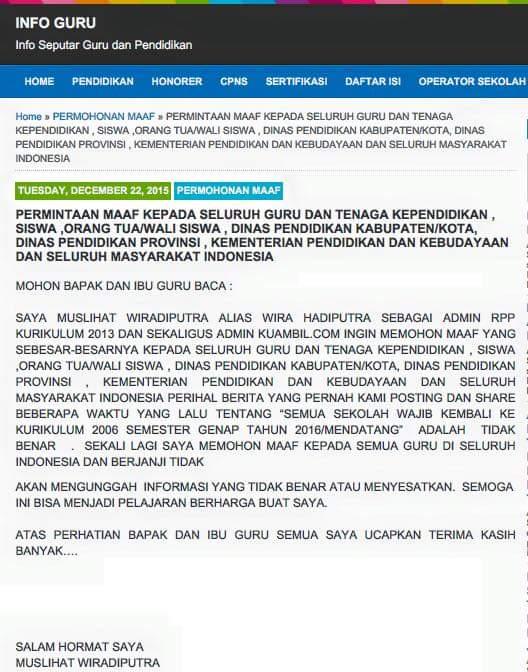 Permintaan Maaf Muslihat Wiradiputra terkait berita hoax