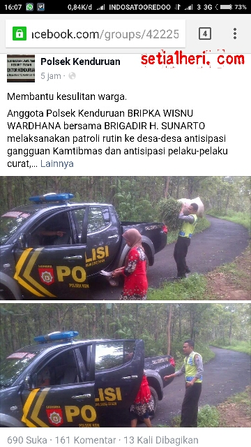 Anggota Polsek Kenduruan,Tuban BRIPKA WISNU WARDHANA bersama BRIGADIR H. SUNARTOpatroli dan membantu warga tanggal 25 Januari 2016