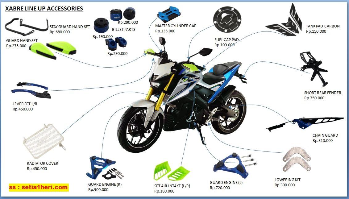 Daftar 14 aksesoris beserta harganya Yamaha Xabre tahun 2016