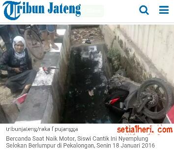 Rizka Almira (17), siswi kelas XI SMKN 1 Kota Pekalongan, Jawa Tengah masuk selokan 17 januari 2016