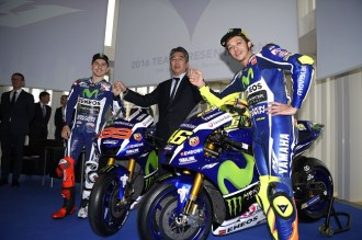 The 2016 Yamaha YZR-M1 revealed in Barcelona, Spanyol with Rossy and Lorenzo