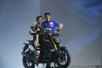 Valentino Rossi bersama pembalap Yamaha dengan Yamaha Xabre di Bali tanggal 26 Januari 2016