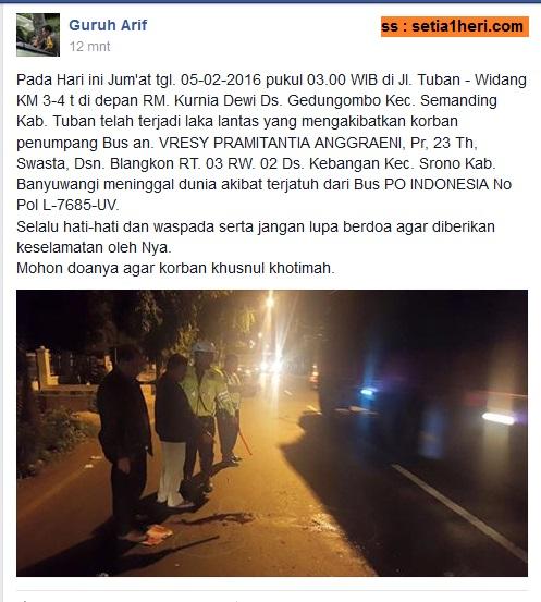 kecelakaan penumpang bus Indonesia di tuban tanggal 5 Februari 2016
