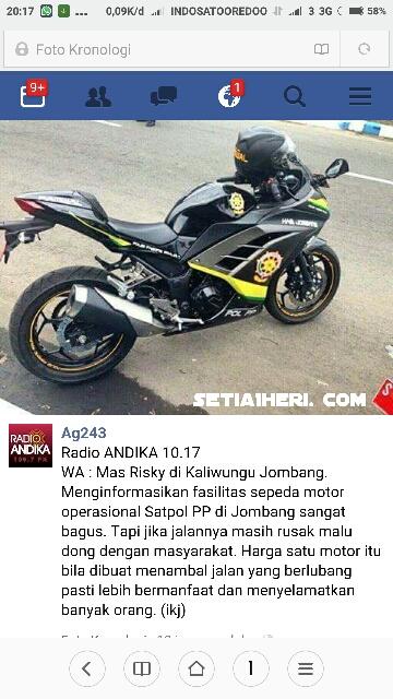 motor kawasaki ninja 250 R yang jadi kendaraan operasional satpol pp jombang jawa timur dicibir netizen