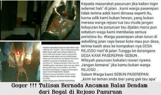 Geger !!! Tulisan Bernada Ancaman Balas Dendam dari Begal di Rejoso Pasuruan
