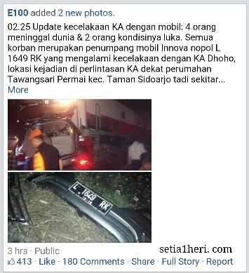 kecelakaan mobil Innova dan KA Dhoho di Taman Sidoarjo hari Rabu malam tanggal 13 April 3016
