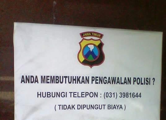 pengawalan polisi tanpa biaya di gresik