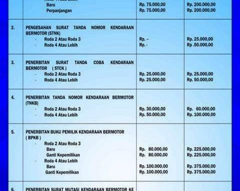 Daftar Tarif Baru Pengurusan Stnk Dan Bpkb Tahun 2017 Setia1heri Com