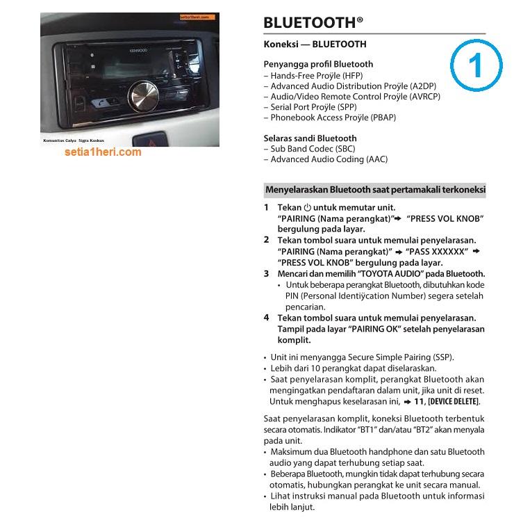 Cara pairing bluetooth di Toyota Calya gans...bisa terima/tolak telpon dan dengerin musik