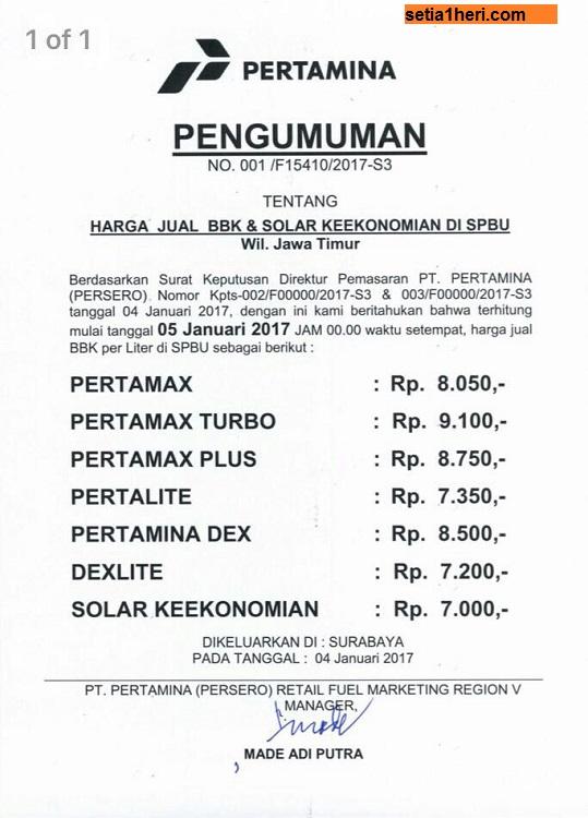 ini harga bbm terbaru per 5 januari 2017