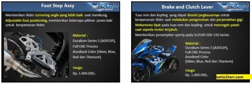 Daftar komponen SARP Cobra Series untuk Suzuki GSX R-10 dan GSX S-150 tahun 2017