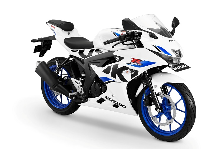Suzuki GSX-R150 ---- Brilliant White-CW Vigor Blue tahun 2018