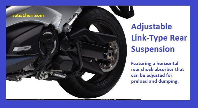 FItur shock belakang pada Yamaha TMAX DX tahun 2018