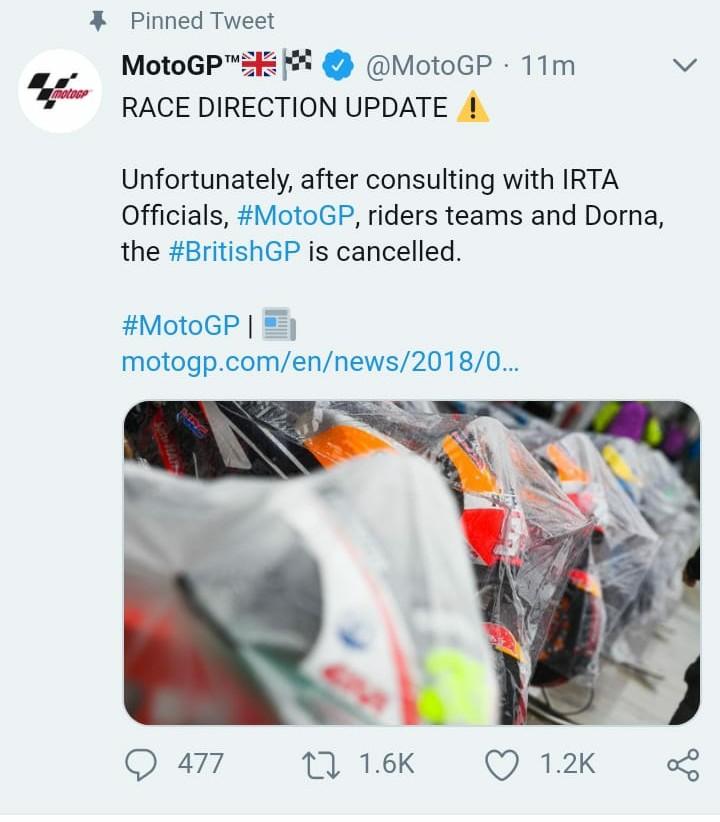 Konfirmasi Hasil Moto GP Silverstone, Inggris 2018 : Balapan dibatalkan gans