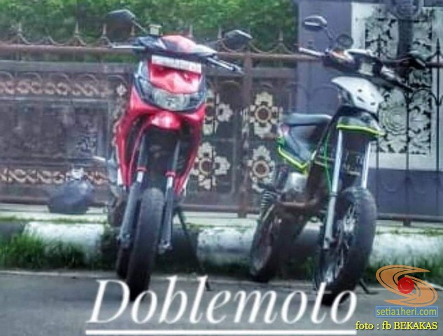 Kumpulan gambar modifikasi sepeda motor shock depan jangkung ala supermoto brosis