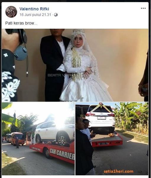 mobil fortuner jadi barang seserahan pengantin di pati