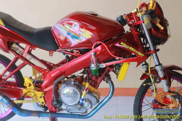Kumpulan gambar Modifikasi tabung reservoir coolant pada sepeda motor pakai botol parfum gans...hehehe