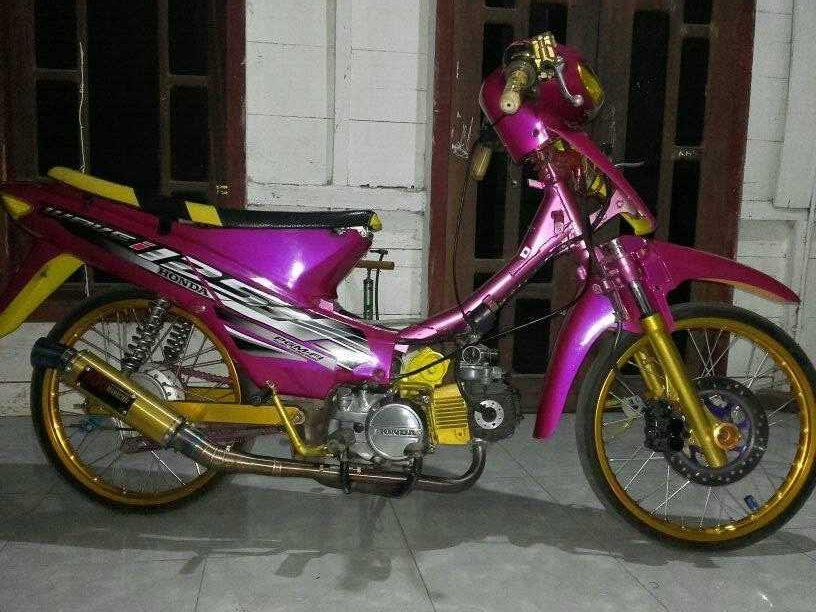 Modifikasi Honda Supra X 125 Warna Pink Merah Jambu Brosis Setia1heri Com
