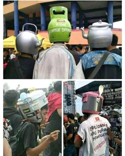 Helm motor modifikasi bentuk tabung gas lpj, teko serta magic jar...hehehehe