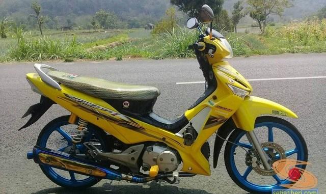 Modifikasi Honda Supra X 125 warna kuning brosis