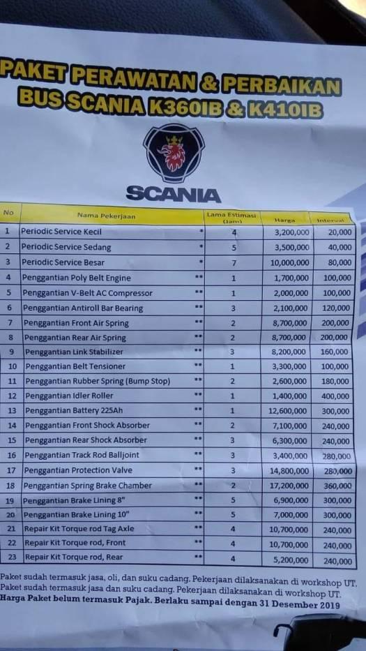harga tarif bengkel bus scania