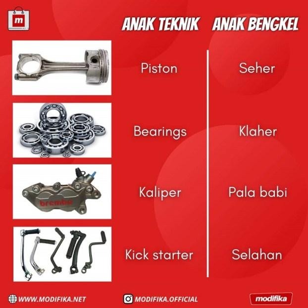 Daftar part mobil atau motor dalam bahasa bengkel dan bahasa teknis
