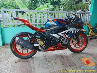 Modifikasi striping Suzuki GSX R150 livery atau decals shark (7)