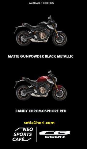 pilihan warna Honda CB650R tahun 2021