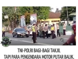 Ada pak polisi mau bagi takjil di pinggir jalan, eh biker pada putar balik dikira ada razia tilang...xixixixi