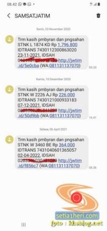sms notifikasi dari samsat jawa timur 2021