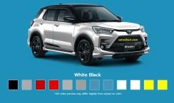 Pilihan warna putih hitam Toyota Raize tahun 2021