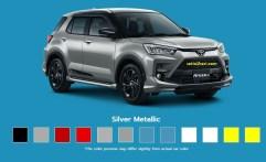 Pilihan warna silver metalic Toyota Raize tahun 2021