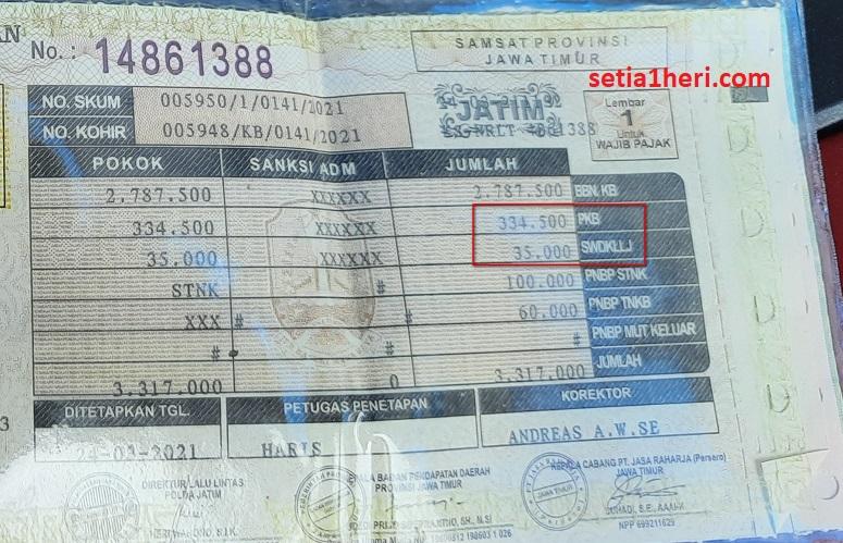 pajak pcx 160 tahun 2021 di Jawa Timur