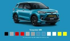warna turquoise Toyota Raize tahun 2021