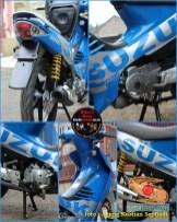 Restorasi Suzuki Shogun 125 R jadi kinclong dan pakai livery Moto GP gans..