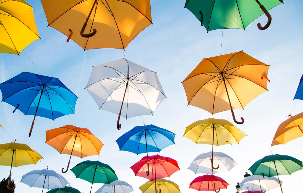 umbrellas-hanging-from-sky