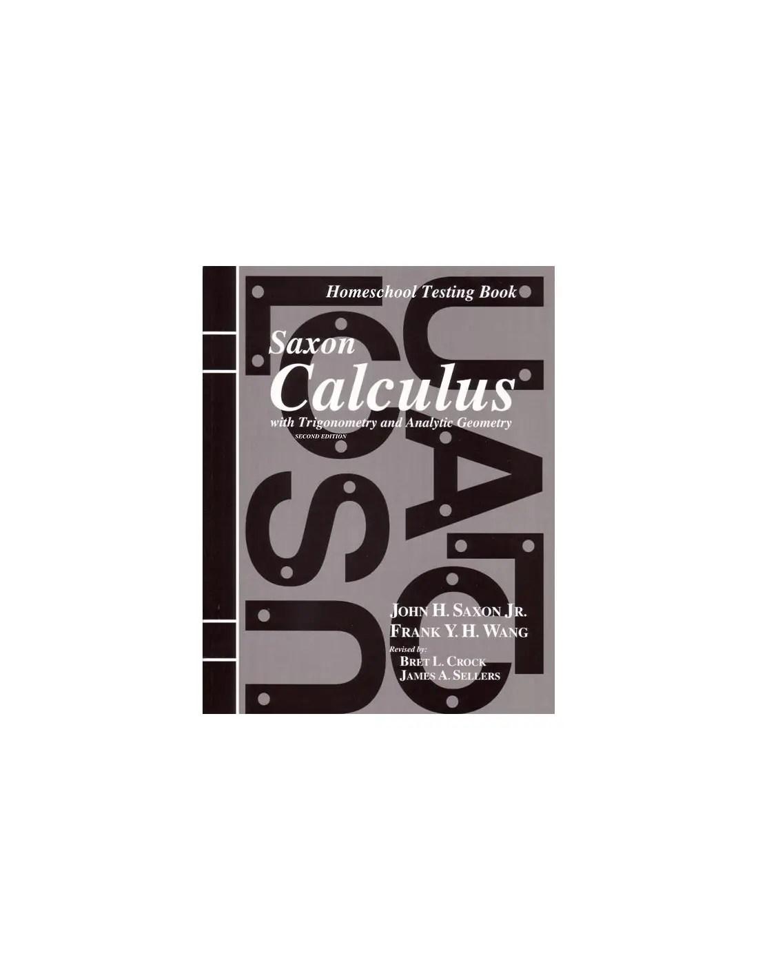 Saxon Calculus 2nd Ed Tests