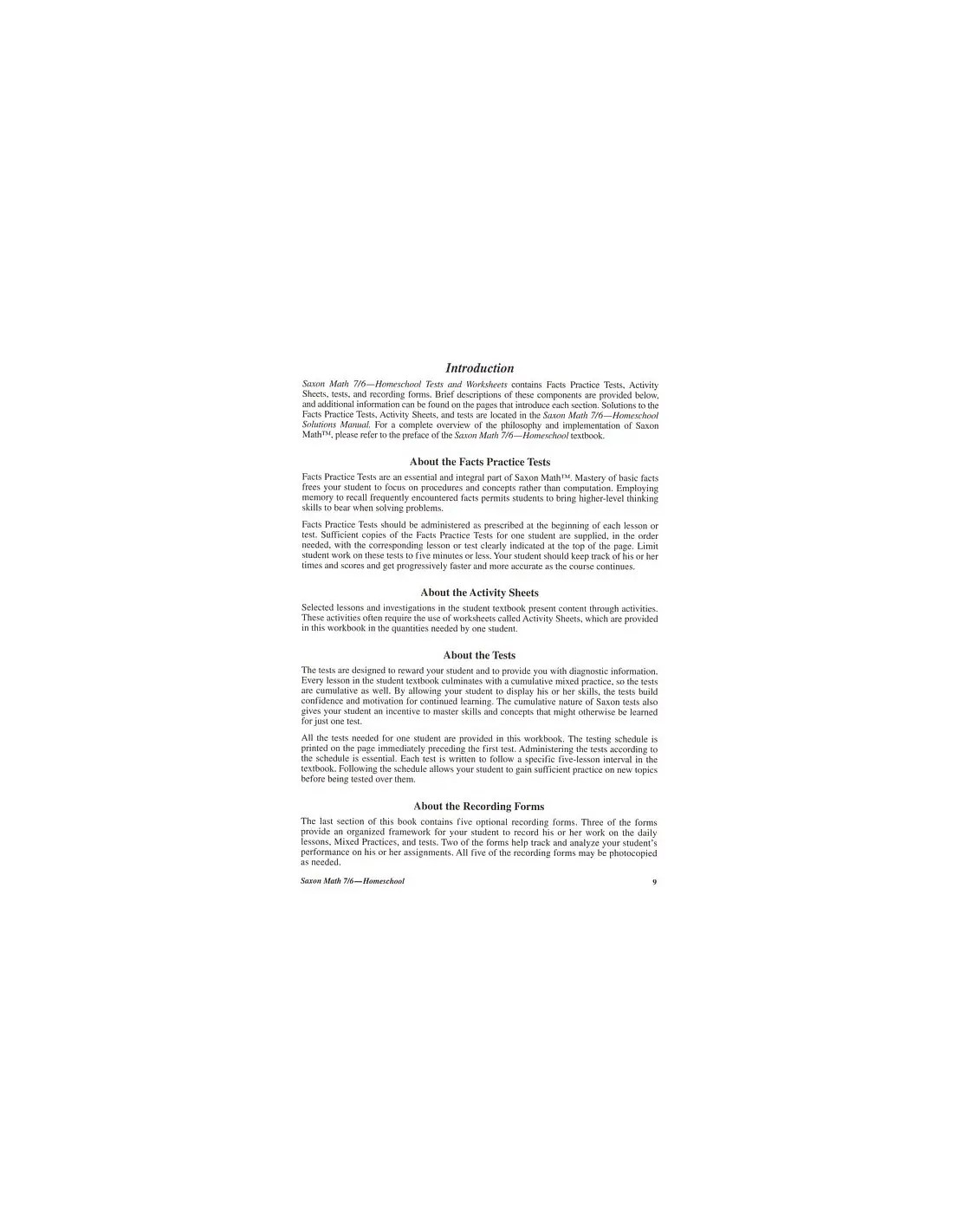 Saxon 76 Homeschool 4th Edition Tests Worksheets