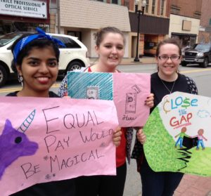 Caption: Seton Hill students gathered outside the Westmoreland County Courthouse to support pay equity.