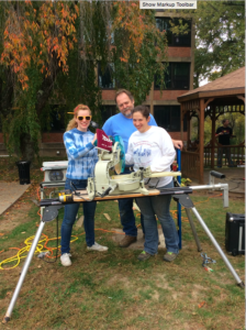 Kelly Hollis, Kirstin Logan and Darren Achtezhn worked with the saws. The gazebo had boards that needed replaced.