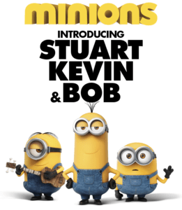 Minions, the main minions Kevin(middle), Stuart(left) and Bob(right).