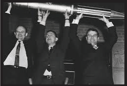 James Van Allen and Wernher von Braun holding a model of Explorer 1 after the satellite had reached orbit on Jan. 31, 1958. Photo courtesy by nbcnews.com