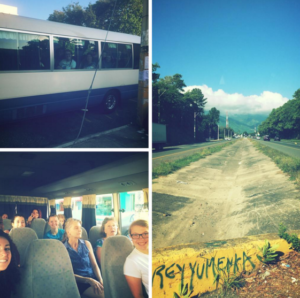 Some images captured of the students traveling by bus to Jarabacoa. Photo courtesy of R.Whiteman