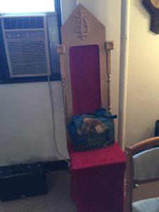King received this throne as a gift from the students and faculty after leaving his job at Jeannette Elementary School. Photo courtesy of Seton Hill and Callista Arida