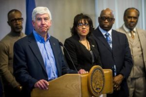 Michigan Gov. Rick Snyder holds a press conference in hopes for federal aid. Snyder and other government officials are under scrutiny for waiting too long to fix the water crisis in Flint. Photo courtesy of nydailynews.com